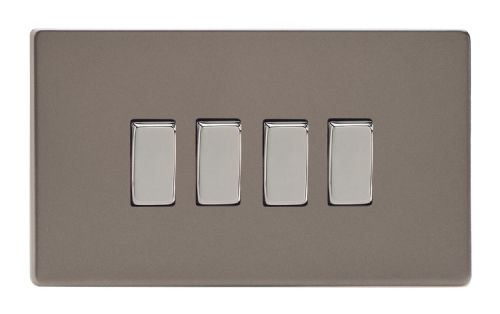 Varilight XDR9S Screwless Pewter 4 Gang 10A 1 or 2 Way Rocker Light Switch